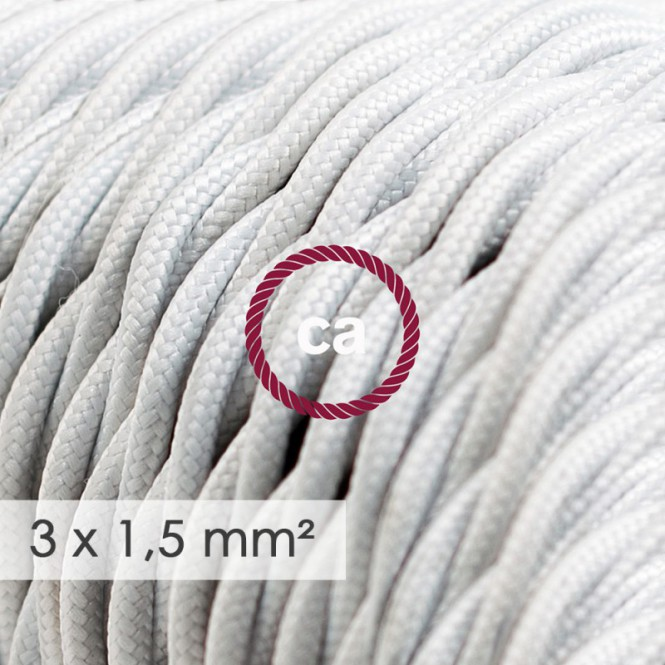 Large section electric cable 3x1,50 twisted - covered by rayon White TM01