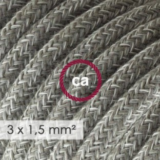 Large section electric cable 3x1,50 round - covered by Natural Grey Linen RN02