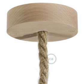Interior trend: wooden ceiling roses and lampholders to match our nautical ropes!